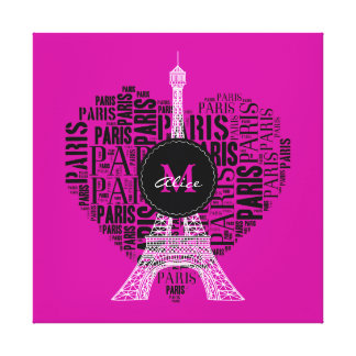 Eiffel Tower | Love Paris | Monogram Canvas Print