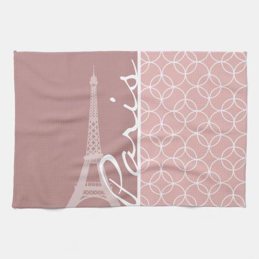 Eiffel Tower; Mauve Circles Hand Towels