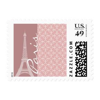 Eiffel Tower; Mauve Circles Postage