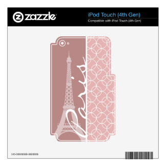 Eiffel Tower; Mauve Circles Skin For iPod Touch 4G