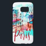 "Eiffel Tower Meet Me in Paris Watercolor Splatter Samsung Galaxy S7 Case<br><div class=""desc"">Modern urban city watercolor with Paris,  France,  Eiffel Tower and City streets. Meet me in Paris Typography,  a chic design.</div>"