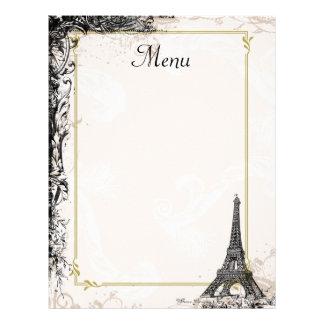 Eiffel Tower Menu Vintage French Style Letterhead