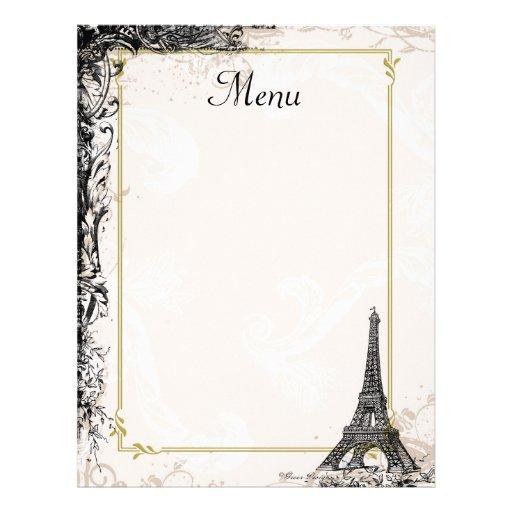 Eiffel Tower Menu Vintage French Style Letterhead Zazzle