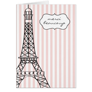 Eiffel Tower Merci Beaucoup Greeting Cards
