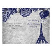 Eiffel tower navy silver folded Wedding program