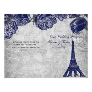 Eiffel tower navy silver folded Wedding program