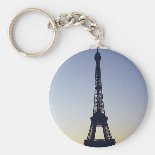 Eiffel Tower Night Basic Round Button Keychain