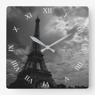 Eiffel Tower Night Cloudy Sky Square Wall Clock