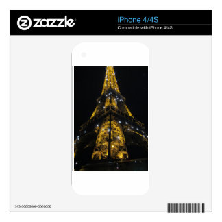 Eiffel Tower Nightime Yellow Lights - Paris,France Decal For iPhone 4