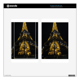 Eiffel Tower Nightime Yellow Lights - Paris,France Decals For Kindle Fire