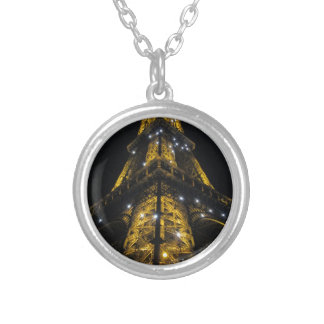 Eiffel Tower Nightime Yellow Lights - Paris,France Round Pendant Necklace