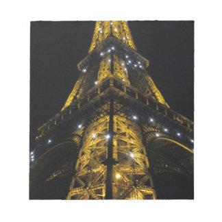 Eiffel Tower Nightime Yellow Lights - Paris,France Notepad