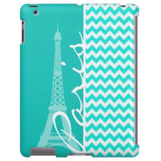 Eiffel Tower on Aqua Color Chevron
