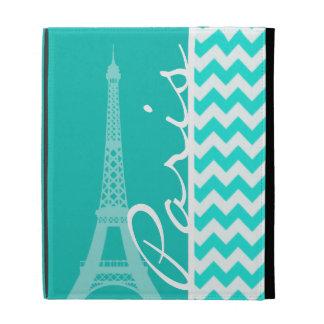 Eiffel Tower on Aqua Color Chevron iPad Cases