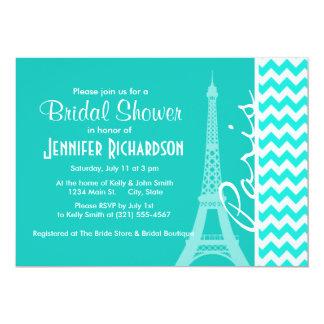 "Eiffel Tower on Aqua Color Chevron 5"" X 7"" Invitation Card"