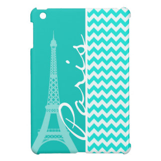 Eiffel Tower on Aqua Color Chevron Cover For The iPad Mini