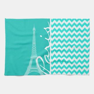 Eiffel Tower on Aqua Color Chevron Kitchen Towels
