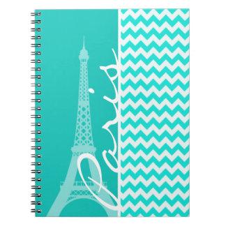 Eiffel Tower on Aqua Color Chevron Spiral Note Book
