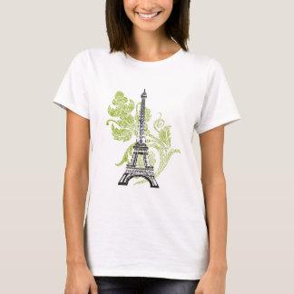 Eiffel Tower on Green Design T-Shirt