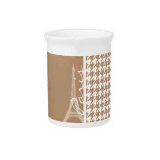 Eiffel Tower on Light Brown, Tan Houndstooth Beverage Pitcher