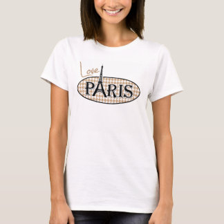 Eiffel Tower on Light Brown, Tan Houndstooth T-Shirt