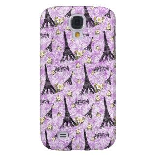 Eiffel Tower on Purple Damask Samsung Galaxy S4 Case
