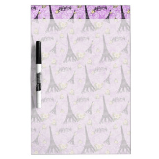 Eiffel Tower on Purple Damask Dry-Erase Board