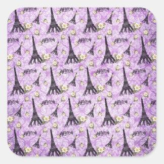 Eiffel Tower on Purple Damask Square Sticker