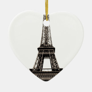 Eiffel Tower Double-Sided Heart Ceramic Christmas Ornament
