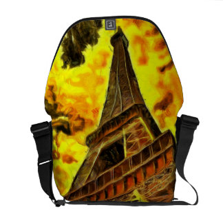 Eiffel tower painting courier bag