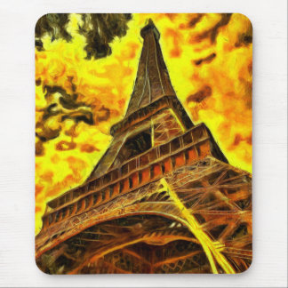 Eiffel tower painting mouse pad