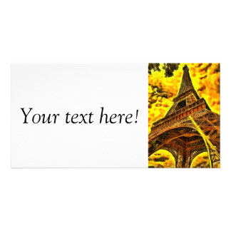 Eiffel tower painting photo card template