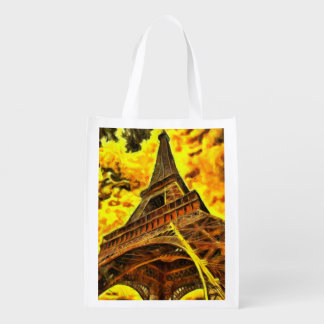 Eiffel tower painting market totes