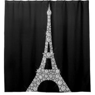 Eiffel Tower Pari Black White Swarovski Crystals Shower Curtain