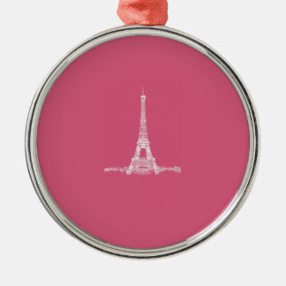 Eiffel Tower Paris Abstract Pink Christmas Ornaments