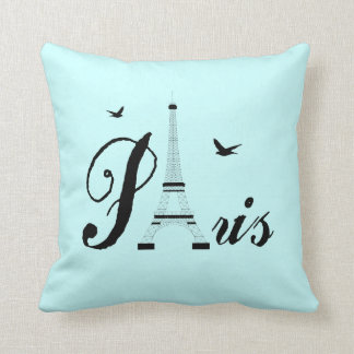 Eiffel Tower Paris Aqua Blue Black Picture Pillows