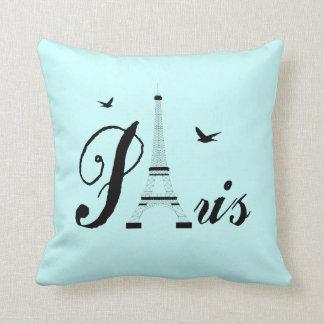 Eiffel Tower Paris Aqua Blue Black Picture Pillows