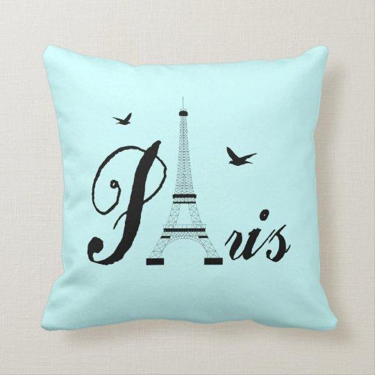 Paris Eiffel Tower Pillow 16 X 16: Eiffel Tower Paris Aqua Blue Black Picture Pillows