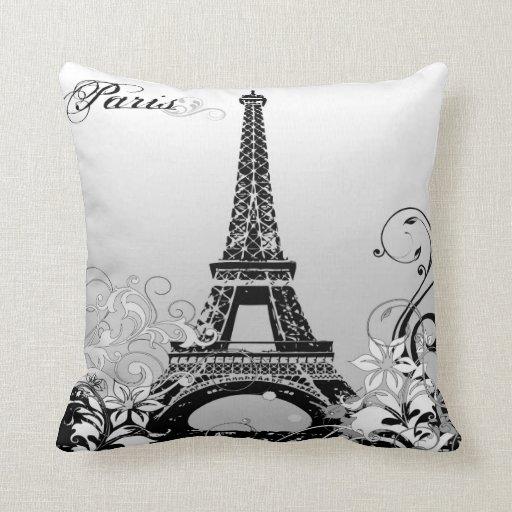 Paris Eiffel Tower Pillow 16 X 16: Eiffel Tower Paris (B/W) Throw Pillow