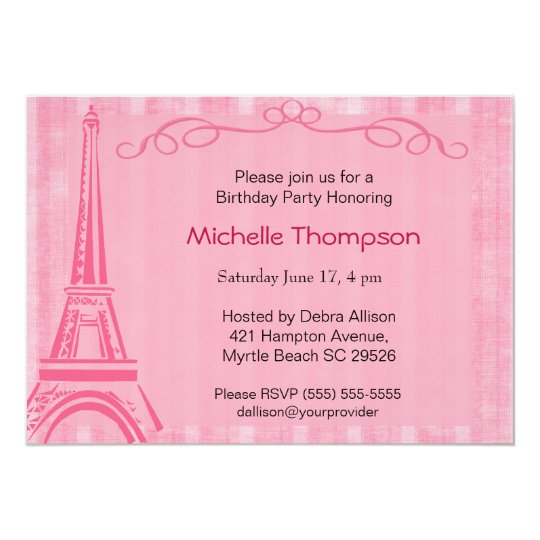 Eiffel Tower Paris Birthday Invitations Zazzle Com