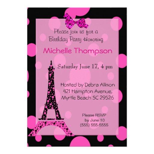 Eiffel tower paris birthday invitations 5 x 7 invitation card zazzle - Salon des seniors paris invitation ...