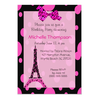 "Eiffel Tower Paris  Birthday Invitations 5"" X 7"" Invitation Card"