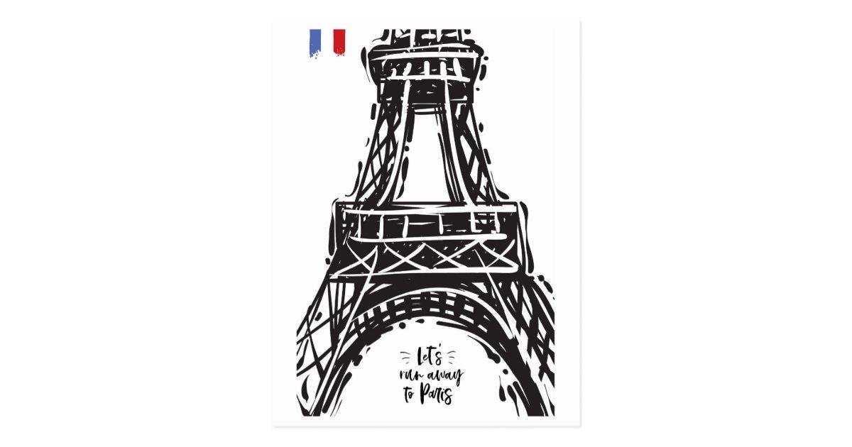 Eiffel Tower Paris Black Outline White Postcard Zazzle Com