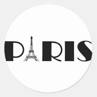 Eiffel Tower Paris Black & White Classic Round Sticker