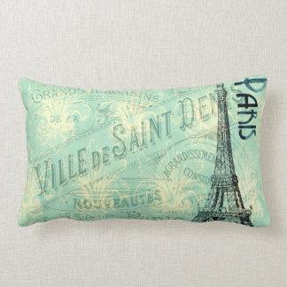 Eiffel Tower Paris Blue Post Card Vintage Pillow