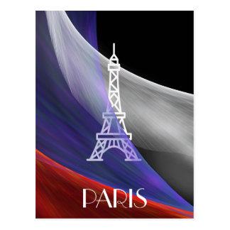 Eiffel Tower Paris blue red white flag on black Postcard