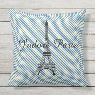 Eiffel tower Paris blue white chevron outdoor Throw Pillow