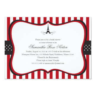 Eiffel Tower Paris Bridal Shower Custom Invitations