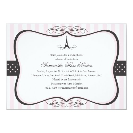 Eiffel Tower Paris Bridal Shower 5x7 Paper Invitation Card