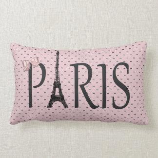 Eiffel Tower Paris Chic Pink Bows Throw Pillow